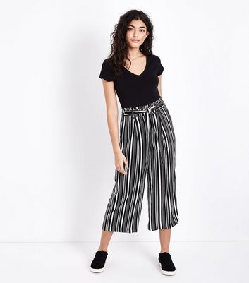 Black Stripe Tie Waist Cropped Wide Leg Trousers