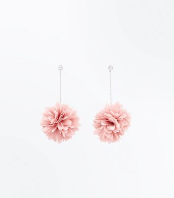 Pink Flower Pom Pom Drop Earrings
