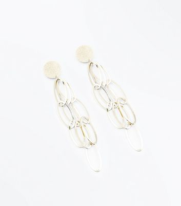 Gold Oval Chain Link Earrings by New Look