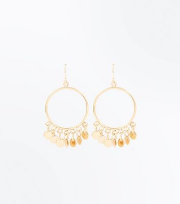 Gold Coin Pendant Hoop Earrings