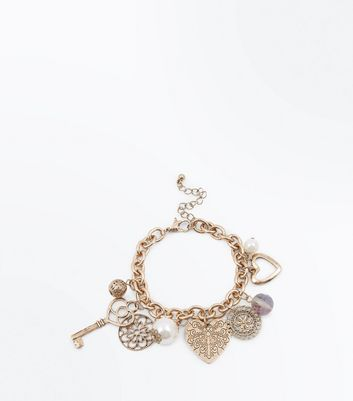 Gold Key and Charm Bracelet