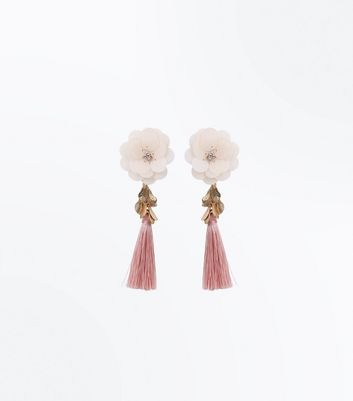 Pink Sequin Flower Tassel Drop Earrings