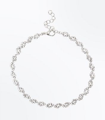 Silver Crystal Cup Chain Anklet