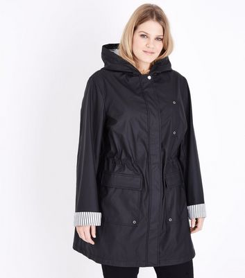 Curves Black Stripe Lined Anorak