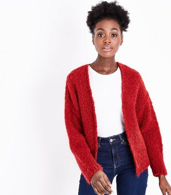 Dark Red Boucle Cardigan