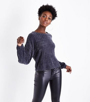 Dark Grey Ribbed Chenille Balloon Sleeve Jumper