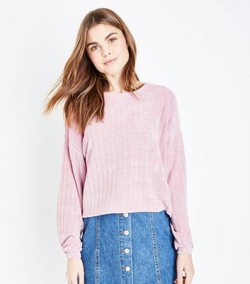 Pale Pink Ribbed Chenille Balloon Sleeve Jumper