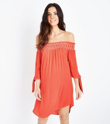 Coral Neon Shirred Bardot Neck Beach Dress
