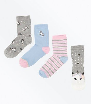 4 Pack Multi Coloured Princess Unicorn Socks