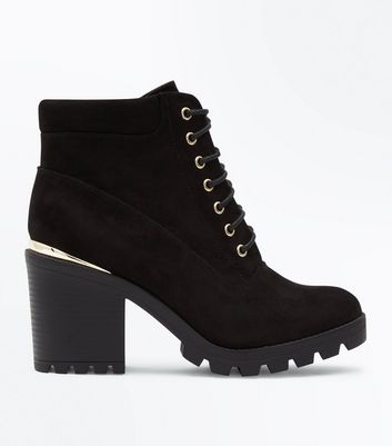 Wide Fit Black Suedette Cleated Lace Up Boots
