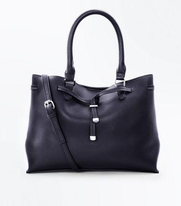 Black Toggle Front Tote Bag