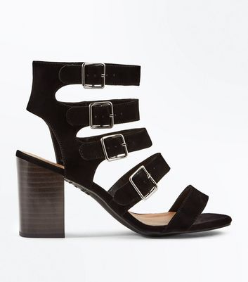 Wide Fit Black Suedette Multi Strap Heels