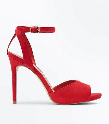 Wide Fit Red Peep Toe Stiletto Sandals