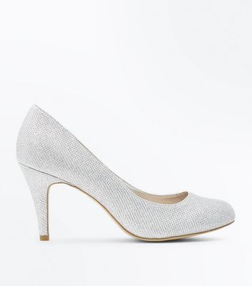 Wide Fit Silver Glitter Court Shoes
