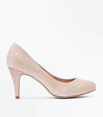 Wide Fit Rose Gold Glitter Court Shoes