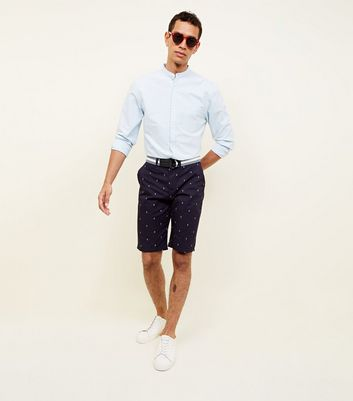 Navy Diamond Print Chino Shorts by New Look
