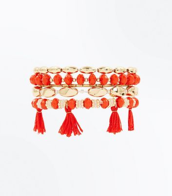 Red Tassel and Bead Bracelet Pack