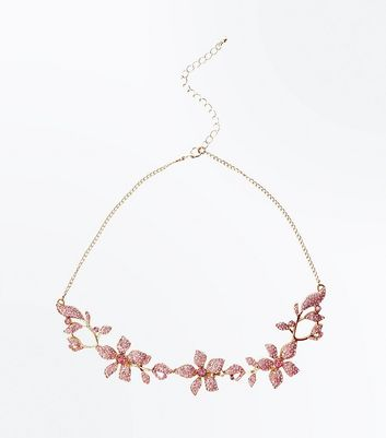 Pink Floral Stone Embellished Necklace