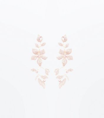 Pink Stone Embellished Floral Drop Earrings