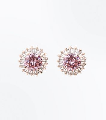 Pink Cubic Zirconia Circle Stud Earrings