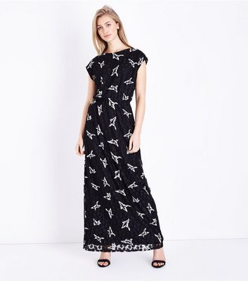 Mela Black Bird Print Maxi Dress