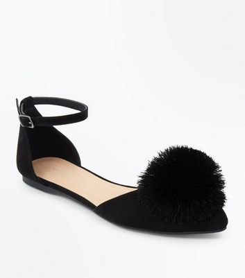 Black Suedette Pom Pom Pointed Pumps