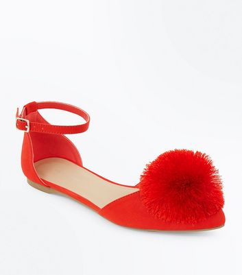 Red Suedette Pom Pom Pointed Pumps