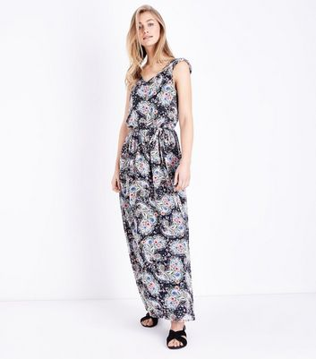 Mela Blue Floral Paisley Print Maxi Dress