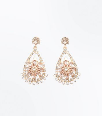 Pink Diamante Chandelier Earrings
