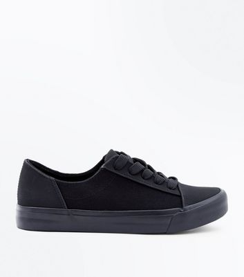 Teens Black Canvas Flatform Trainers