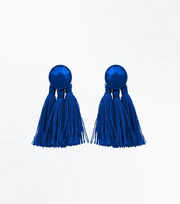 Blue Tassel Coated Stud Earrings