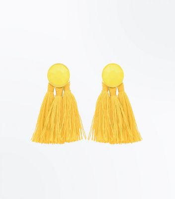 Yellow Tassel Coated Stud Earrings