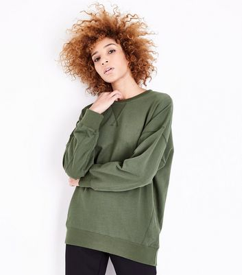 Tall Khaki Balloon Sleeve Longline Sweatshirt