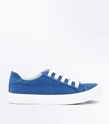 Teens Blue Denim Lace Up Trainers