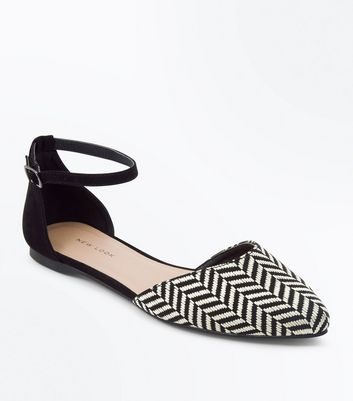 Black Woven Monochrome Stripe Pointed Pumps