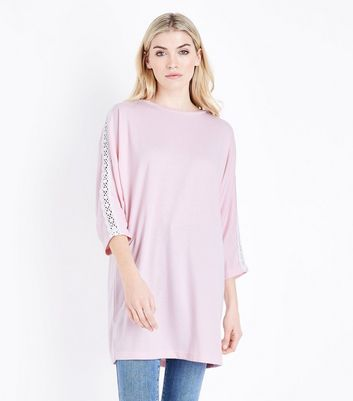 Blue Vanilla Pale Pink Crochet Sleeve Jumper