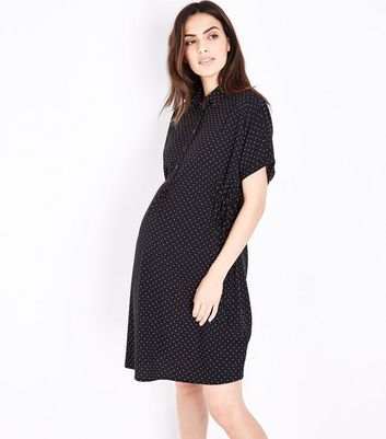 Maternity Black Polka Dot Toggle Waist Shirt Dress