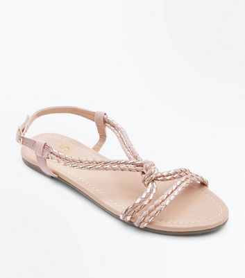 Girls Nude Metallic Plait Sandals