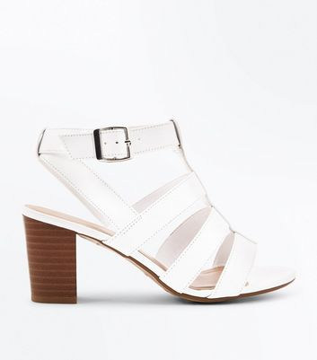 Teens White Gladiator Block Heeled Sandals