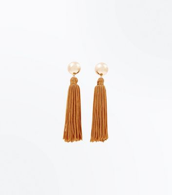 Mustard Tassel Drop Earrings