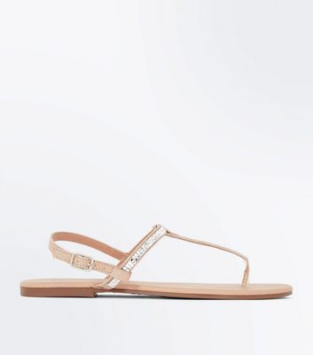 Teens Rose Gold Gem Strap Sandals