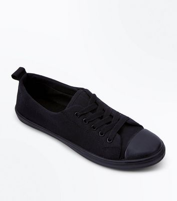 Teens Black Canvas Lace Up Trainers