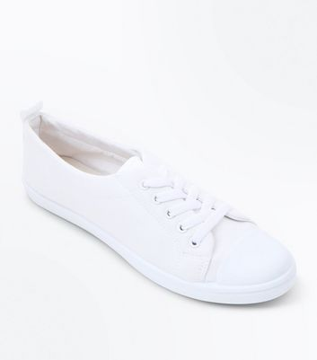 Girls White Canvas Lace Up Trainers