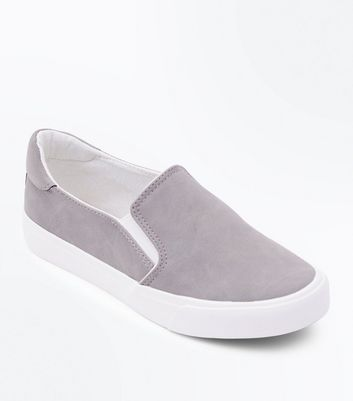 Teens Grey Contrast Trim Slip On Trainers