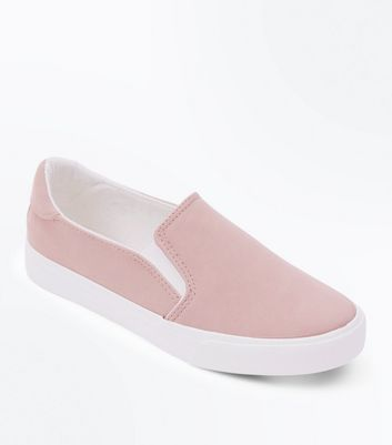Teens Pink Contrast Trim Slip On Trainers