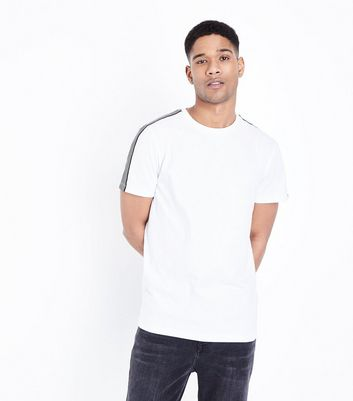 White Fine Stripe Sleeve T-Shirt