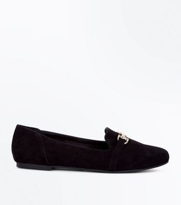 Teens Black Bar Front Loafers