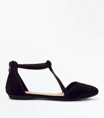 Black Suedette Ankle Strap Cross Front Ballet Pumps
