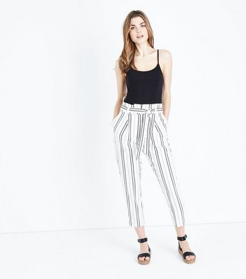 White Stripe High Waist Tapered Trousers