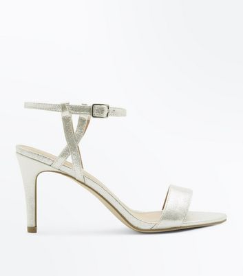 Silver Metallic Twist Strap Stiletto Sandals